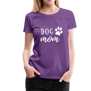 Women's Premium T-Shirt - Dog Mom (White Ink) - purple