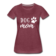 Load image into Gallery viewer, Women's Premium T-Shirt - Dog Mom (White Ink) - heather burgundy