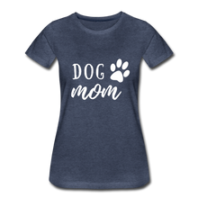 Load image into Gallery viewer, Women's Premium T-Shirt - Dog Mom (White Ink) - heather blue