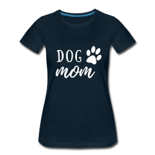 Load image into Gallery viewer, Women's Premium T-Shirt - Dog Mom (White Ink) - deep navy