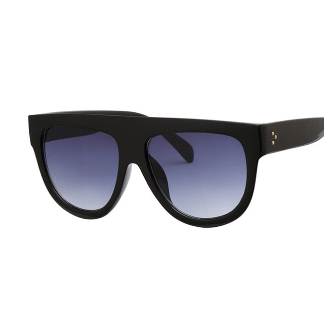 Flat Top Oversized Sunglasses Retro Shield Shape