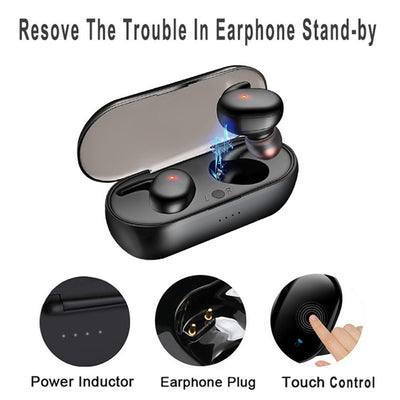TWS Bluetooth 5.0 Wireless Stereo Earphones Earbuds In-ear Noise Reduction Waterproof Headphone Headset With Charging Case