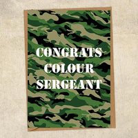 Congrats Colour Sergeant Army Congratulations Greetings Card UK Military Card