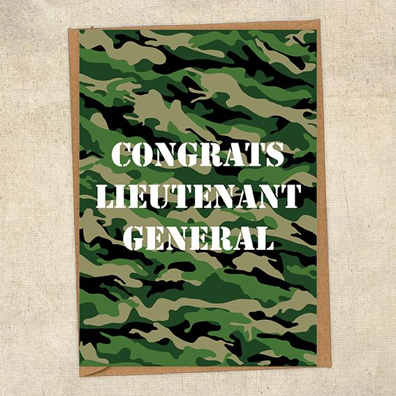 Congrats Lieutenant General Army Congratulations Greetings Card UK Military Card