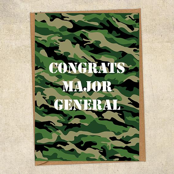 Congrats Major General Army Congratulations Greetings Card UK Military Card