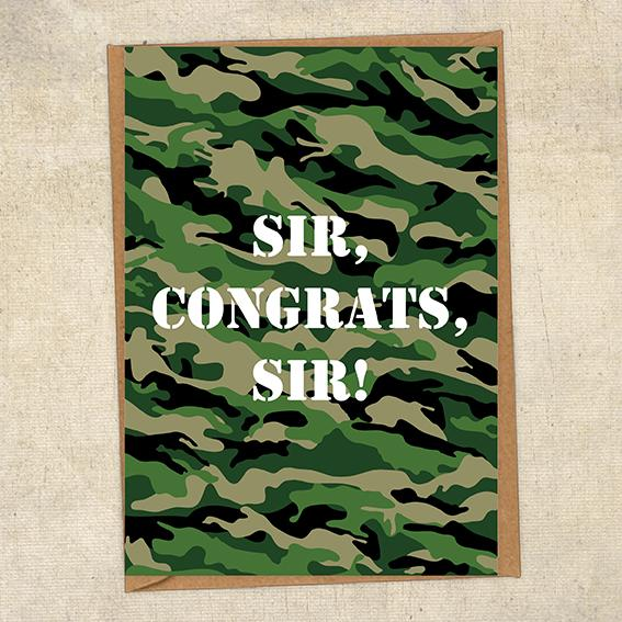 Sir, Congrats, Sir! Army Congratulations Greetings Card UK Military Card