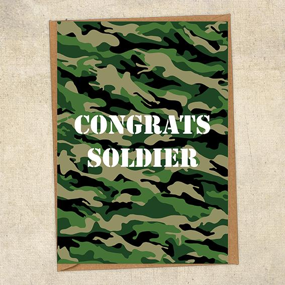 Congrats Soldier Army Congratulations Greetings Card UK Military Card