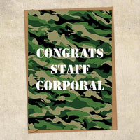 Congrats Staff Corporal Army Congratulations Greetings Card UK Military Card