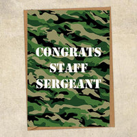 Congrats Staff Sergeant Army Congratulations Greetings Card UK Military Card