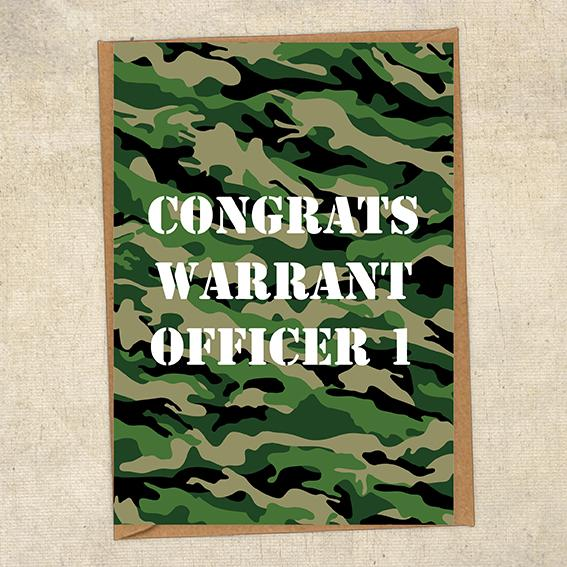 Congrats Warrant Officer 1 Army Congratulations Greetings Card UK Military Card