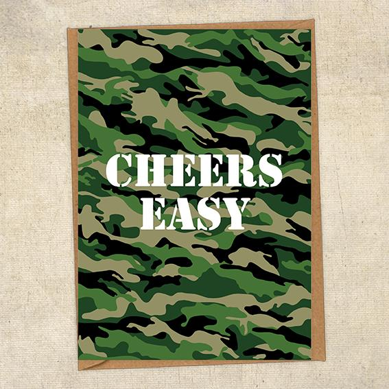 Cheers Easy Army Greetings Card UK Military Card
