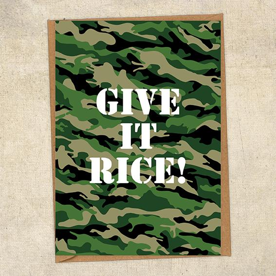 Give It Rice! Army Greetings Card UK Military Card