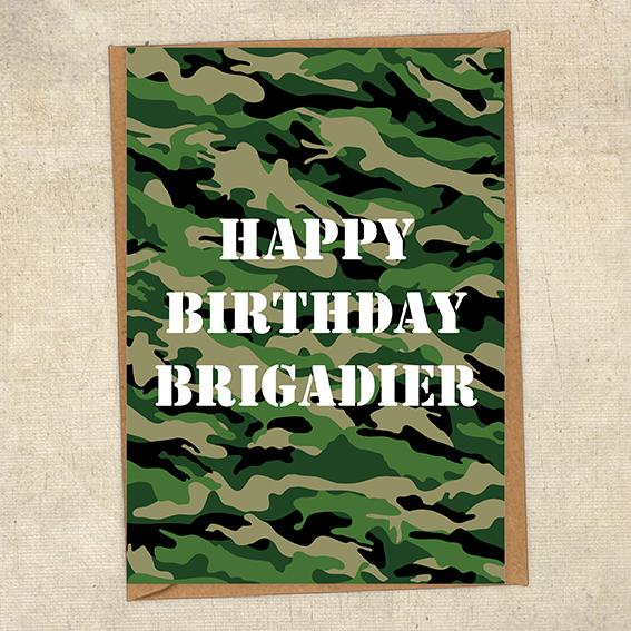Happy Birthday Brigadier Army Birthday Card UK Military Card