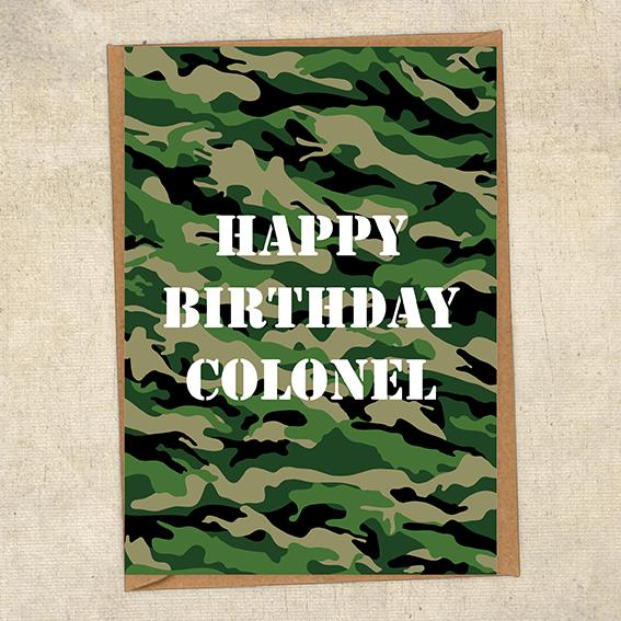 Happy Birthday Colonel Army Birthday Card UK Military Card