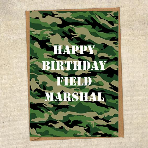 Happy Birthday Field Marshall Army Birthday Card UK Military Card