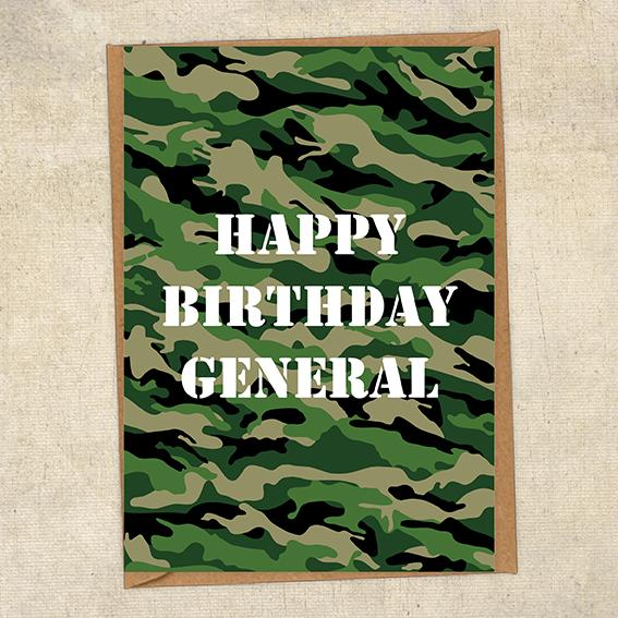Happy Birthday General Army Birthday Card UK Military Card