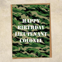 Happy Birthday Lieutenant Colonel Army Birthday Card UK Military Card
