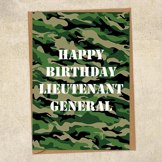 Happy Birthday Lieutenant General Army Birthday Card UK Military Card
