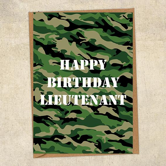 Happy Birthday Lieutenant  Army Birthday Card UK Military Card