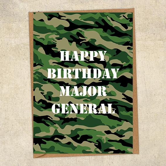 Happy Birthday Major General Army Birthday Card UK Military Card