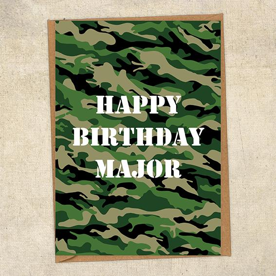 Happy Birthday Major Army Birthday Card UK Military Card