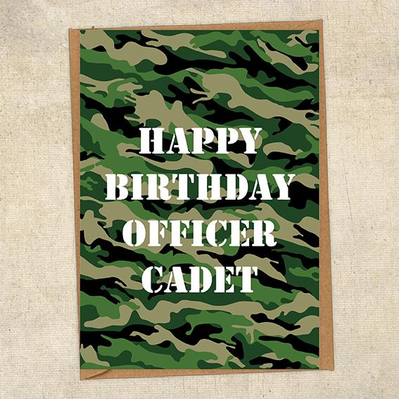 Happy Birthday Officer Cadet General Army Birthday Card UK Military Card