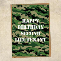 Happy Birthday Second Lieutenant Army Birthday Card UK Military Card