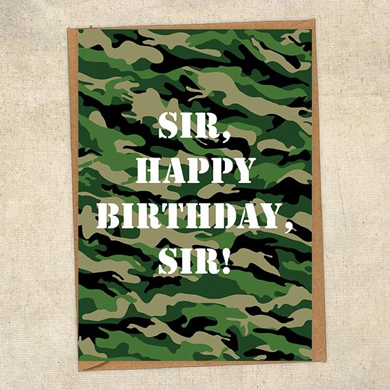 Sir, Happy Birthday, Sir! Army Birthday Card UK Military Card