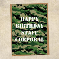 Happy Birthday Staff Corporal Army Birthday Card UK Military Card