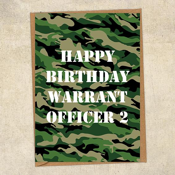Happy Birthday Warrant Officer 2 Army Birthday Card UK Military Card