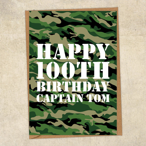 Happy 100th Birthday Captain Tom Army Greetings Card UK Military Card