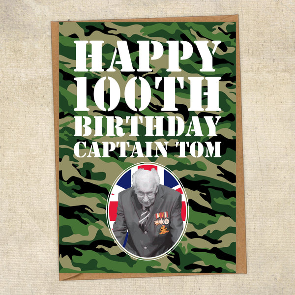 Happy 100th Birthday Captain Tom Photo Army Greetings Card UK Military Card