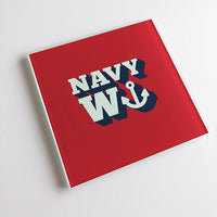 Merchant Navy Wanker Glass Coaster