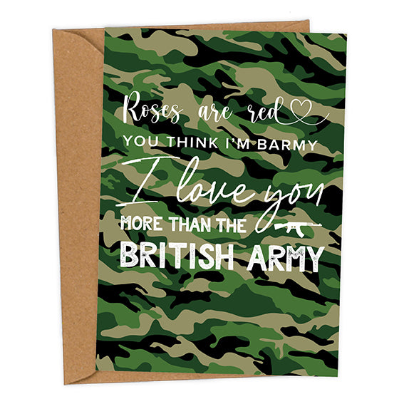 I Love You More Than The British Army UK Military Valentine's Card