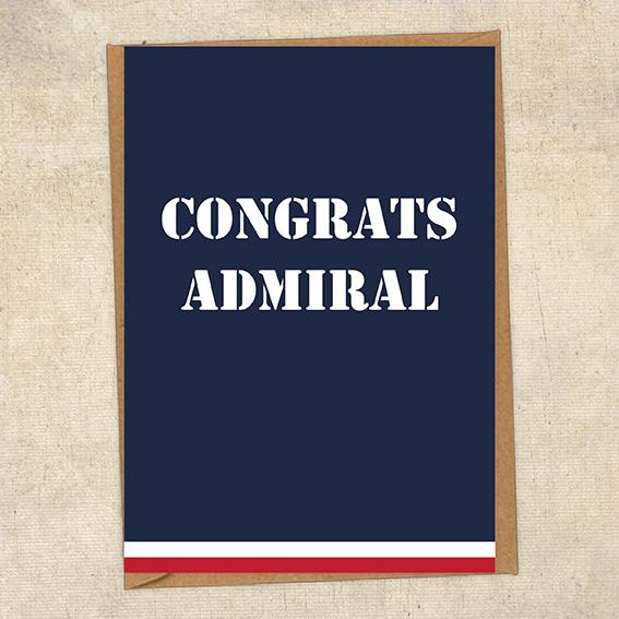 Congrats Admiral Navy Congratulations Greetings Card UK Military Card