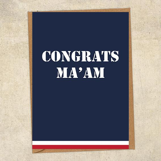 Congrats Ma'am Navy Congratulations Greetings Card UK Military Card