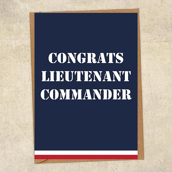Congrats Lieutenant Commander Navy Congratulations Greetings Card UK Military Card