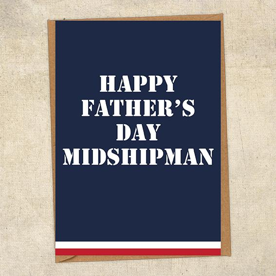 Happy Father's Day Midshipman Commander Father's Day Card Military Card