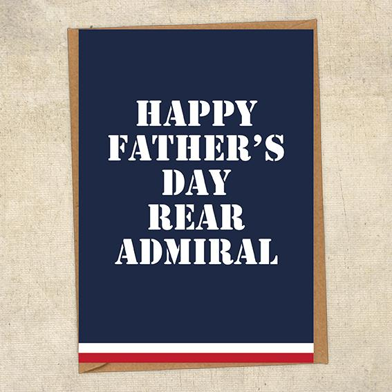 Happy Father's Day Rear Admiral Father's Day Card Military Card