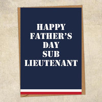 Happy Father's Day Sub Lieutenant Father's Day Card Military Card