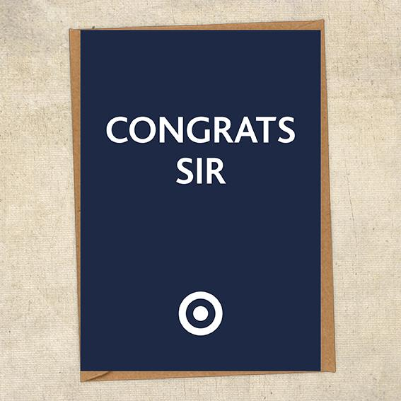 Congrats Sir Congratulations Greetings Card UK Military Card