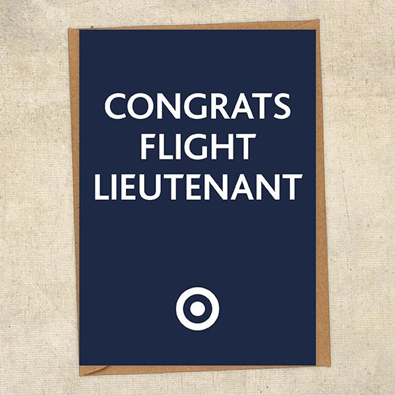 Congrats Flight Lieutenant Congratulations Greetings Card UK Military Card