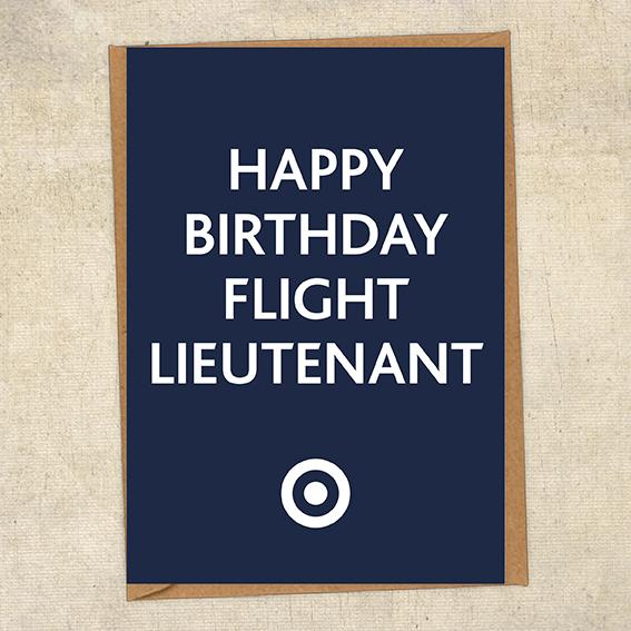 Happy Birthday Flight Lieutenant RAF Birthday Card UK Military Card