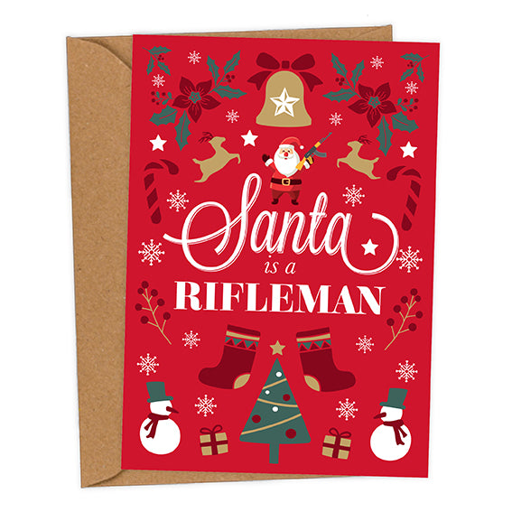 Santa is a Rifleman UK Military Christmas Card