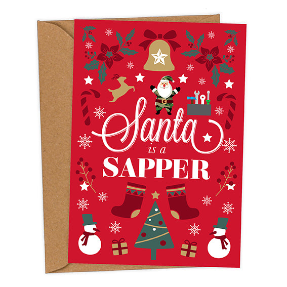 Santa is a Sapper UK Military Christmas Card