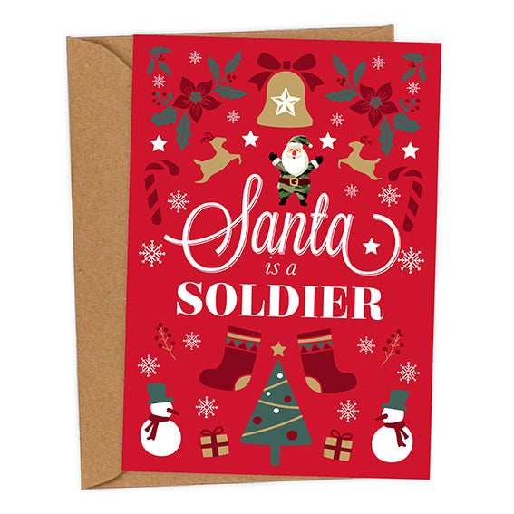 Santa is a Soldier UK Military Christmas Card