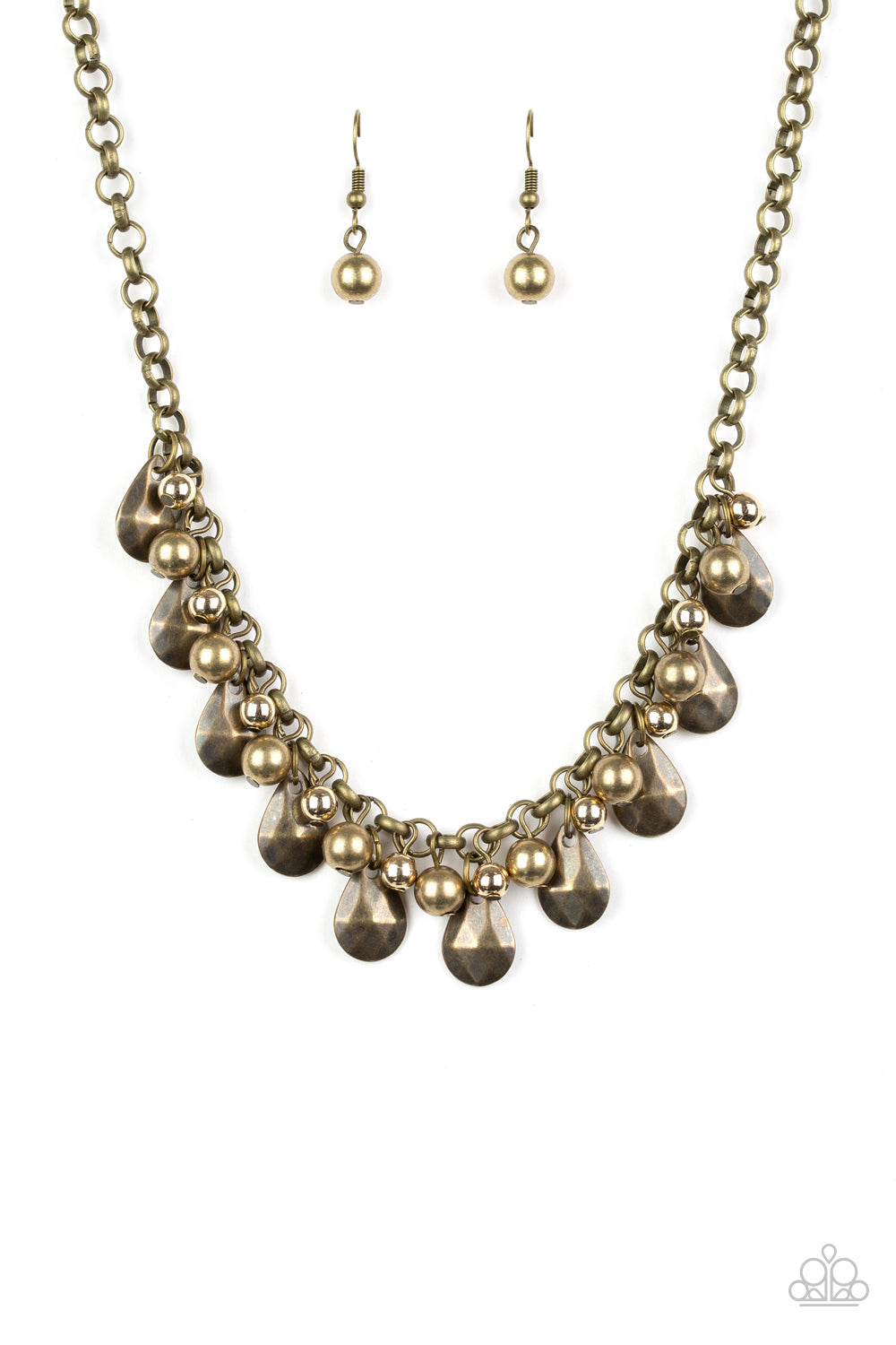 Stage Stunner Brass Necklace