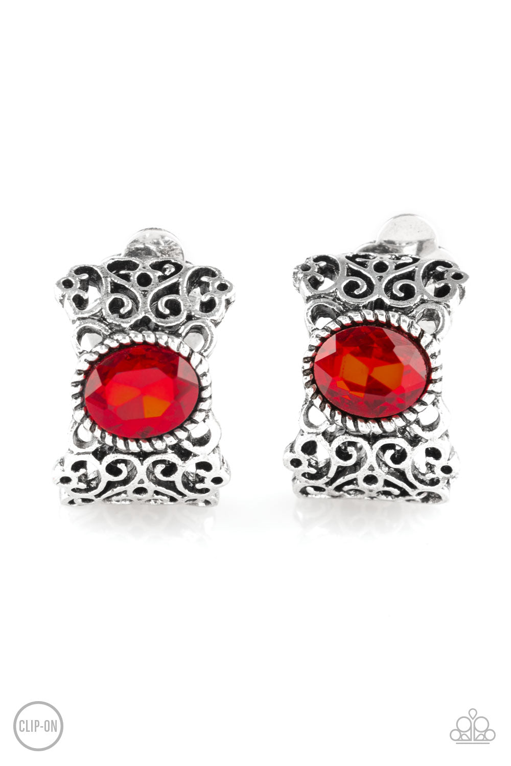 Glamorously Grand Duchess Red Clip-On Earring