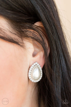 Old Hollywood Opulence White Clip-On Earring
