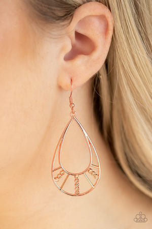 Line Crossing Sparkle Copper Earring